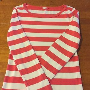 J. Crew 3/4 Sleeve shirt white and red stripes m